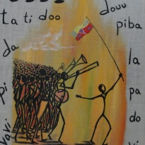 Acryllic on burlap. 30''x 40'' Year:2009