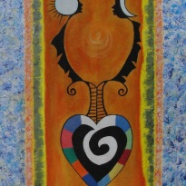Acrylic and collage burlap on canvas. 24''x 48'' Year: 2011.