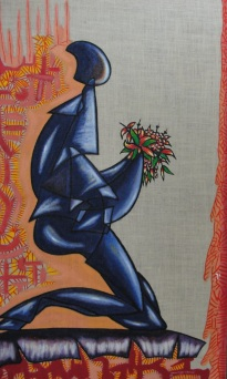Acrylic on burlap. 32''x 54'' Year: 2009